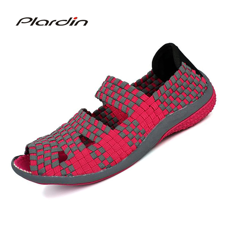 plardin 2018 Summer Hollow out women's Flat Sandals Shoes For women Woven Shoes Breathable Beach Sandals Jelly Shoes Woman women creepers shoes 2015 summer breathable white gauze hollow platform shoes women fashion sandals x525 50