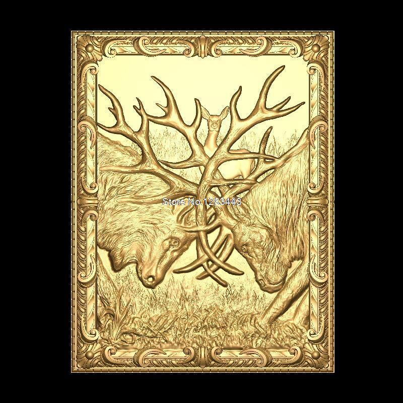 Deer-fight 3D Model STL Relief For Cnc STL Format Furniture Deer-fight 3D STL Format Furniture Decoration