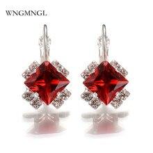 WNGMNGL New Classic Luxurious 6 Colors Crystal Geometric Hoop Earrings For Women 2018 Charm Statement Fashion Jewelry Gift