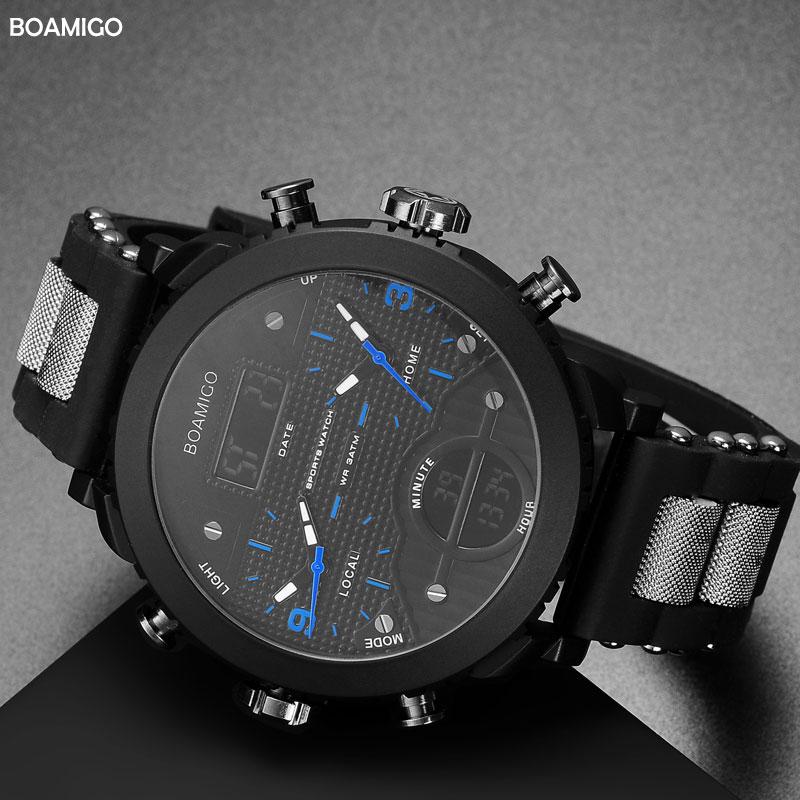 men watches BOAMIGO brand 3 time zone military sports watches male LED digital quartz wristwatches gift box relogio masculino 2