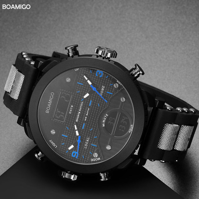 men watches BOAMIGO brand 3 time zone military sports watches male LED digital quartz wristwatches gift box relogio masculino 2