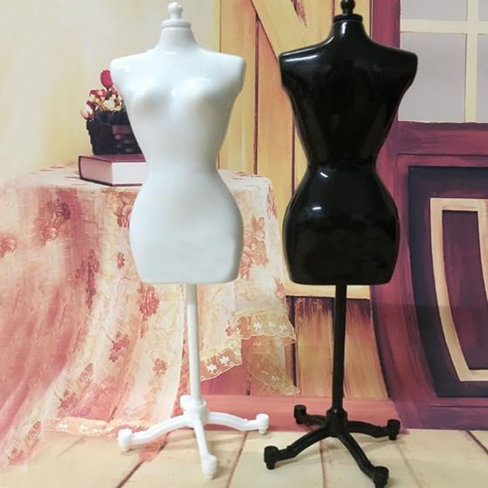 1X Baby's Girls Fantasy Doll Display Gown Dress Form Clothes Mannequin Model Stand Rack Holder Black White Accessories