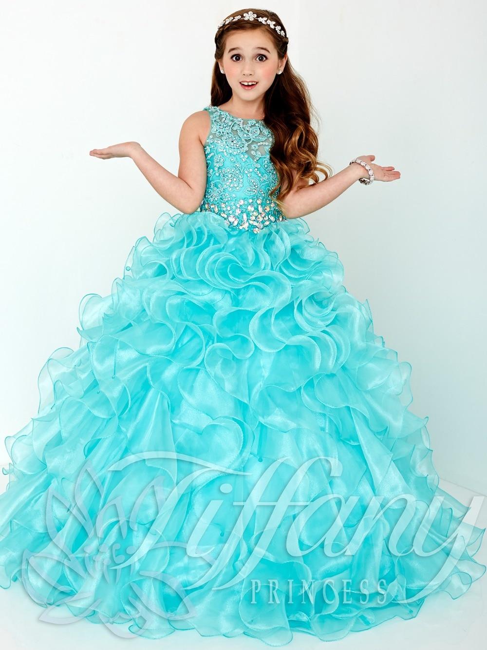 Сладкий Ice Blue органзы Бусины Платья для девочек на свадьбу принцесса Платья для женщин девочек Нарядные платья на день рождения индивидуаль...