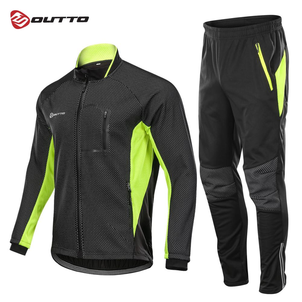 Outto Winter Fleece Cycling Sets Bicycle Thermal Jacket Men s Bike Trousers ropa ciclismo Winter Cycling