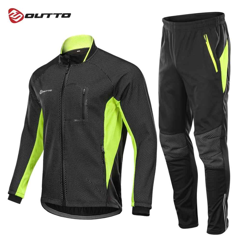 Outto Winter Fleece Cycling Sets Bicycle Thermal Jacket Men s Bike Trousers  ropa ciclismo Winter Cycling Clothing 4fb264c2e
