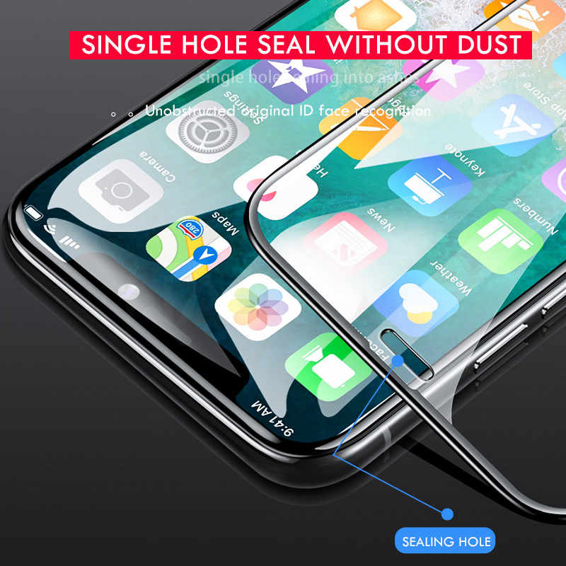 Protetor de tela para iphone 7 8 6s plus, 200d curvo de vidro de proteção completa para iphone 11 vidro pro x xr xs max
