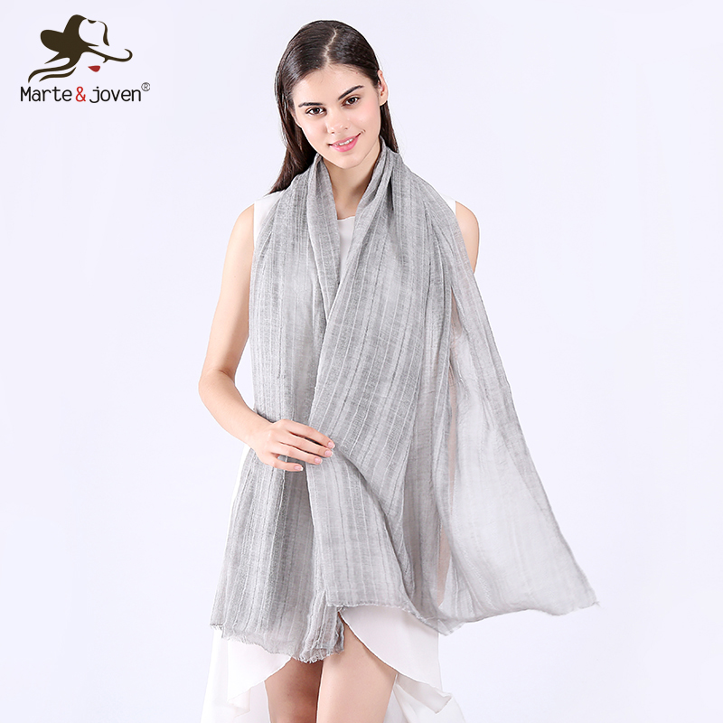 Marte&Joven Simple Design Women's Lightweight Cotton Wrinkled   Scarf     Wrap   Ladies Soft Pure Color Skinny   Scarves   Shawl Wholesale