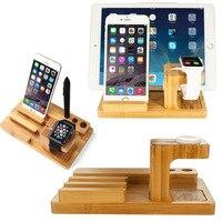 במבוק עץ שולחן העבודה של מכשיר רב תמיכה iWatch תחנת טעינת Dock Stand מחזיק עבור iPhone iPad Mini Tablet עט חרט