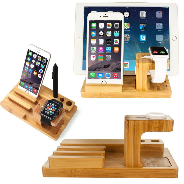 Multi Device Desktop Bamboo Wood Charging Station Dock Stand Holder For Iphone Iwatch Support Ipad Mini