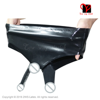 1805f0718b Black Sexy Latex pants with Anatomical anal Condom and Penis Sheath Low Cut  Rubber panties Underwear