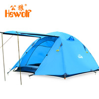 Hewolf Double Layer 3 4 Person Tents Rainproof Waterproof Outdoor Camping Tent Tourist Tent For Hunting