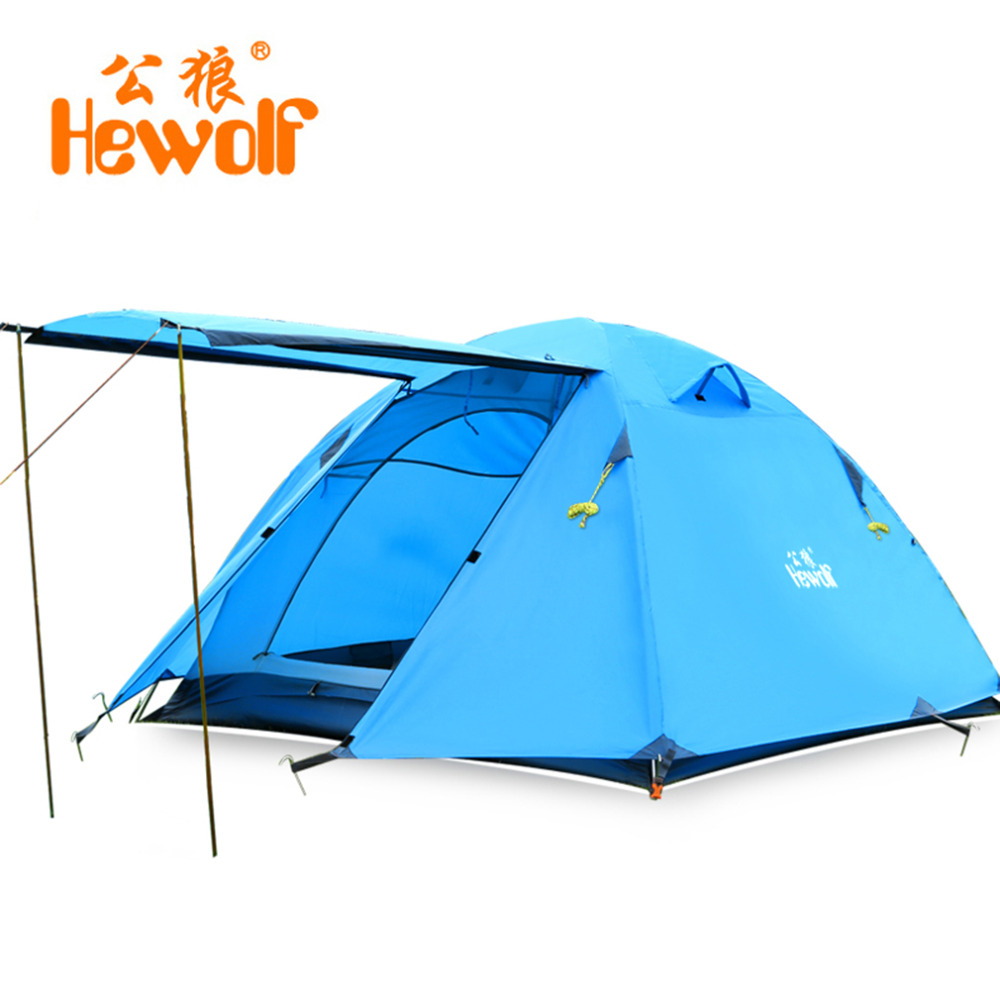 Hewolf Double Layer 3 4 Person Tents Rainproof Waterproof Outdoor Camping Tent Tourist Tent For Hunting Picnic Party Hiking waterproof tourist tents 2 person outdoor camping equipment double layer dome aluminum pole camping tent with snow skirt