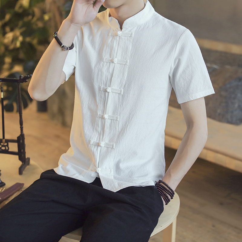 Cotton Linen Shirt Men Short Sleeve Shirts Chinese Traditional Cloths Frog Button Casual 2019 Summer Male Shirts