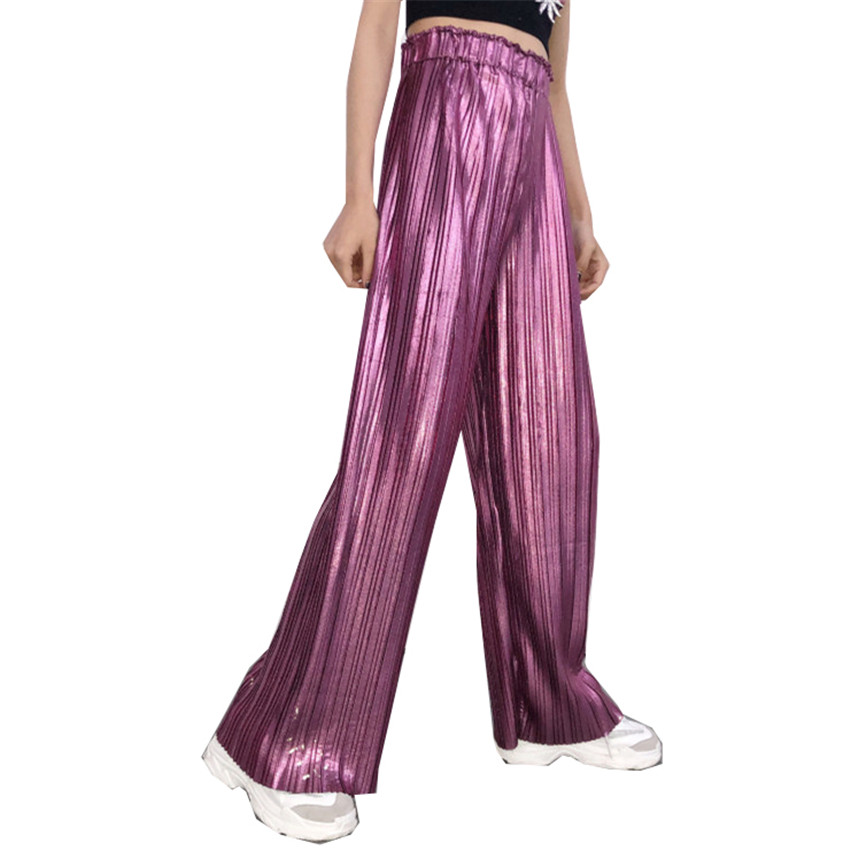 New Spring Fashion Women High Waist   Wide     Leg     Pant   Lady All-match Legging Summer Female Loose Long Pleated   Pants   Trousers WZ382