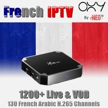 130 IPTV Francês X96 mini 4 k H.265 Android 7.1 Caixa De TV com 1200 + NEO Bélgica HDMI 2.0 x96mini Smart tv IPTV Árabe IP TV caixa