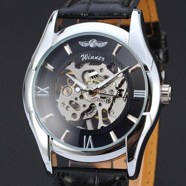 WINNAAR Merk Business Gold Hollow Dial Lichtmetalen Luxe Case Classic lederen Band Horloge Mechanische Automatische Horloge
