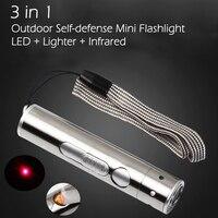 Нержавеющая сталь 3 в 1 Открытый самообороны миниатюрный крючок для рыбалки светодиодный фонарик фонарь из алюминиевого сплава высокой мощ...