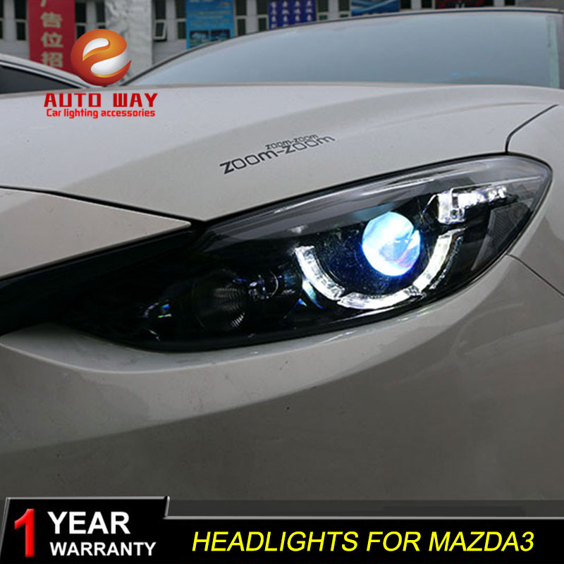 Car Styling Head Lamp case for Mazda3 mazda 3 Axela Headlights 2014 2015 2016 LED Headlight DRL Lens Double Beam Bi-Xenon HID hireno headlamp for hodna fit jazz 2014 2015 2016 headlight headlight assembly led drl angel lens double beam hid xenon 2pcs