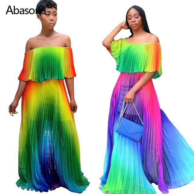 2019 Women Summer Beach Gradient Tie Dye Print Chiffon Big Hem Off Shoulder Maxi Pleated Dress Sexy Bohomian Long Dresses