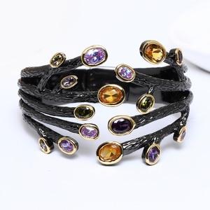Image 4 - Fashion jewelry 2020 Black bangle multi cubic zirconia crystal bracelet femme armbanden voor vrouwen party bangles for women