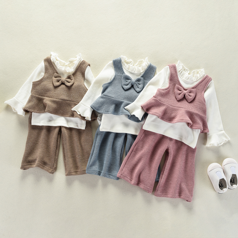 JN501 Spring Autumn 3PCS Set Cute Baby Girls Clothes Kids Tops+Bowknot knit vest+Knitted Long Pants Children Girl Clothing Set baby girls spring summer kids boys clothes set casual children s set soft pink baby girl autumn set leaf tops