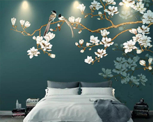 Beibehang Wallpaper hand painted court flowers and birds TV background wall home decoration living room bedroom 3d wallpaper