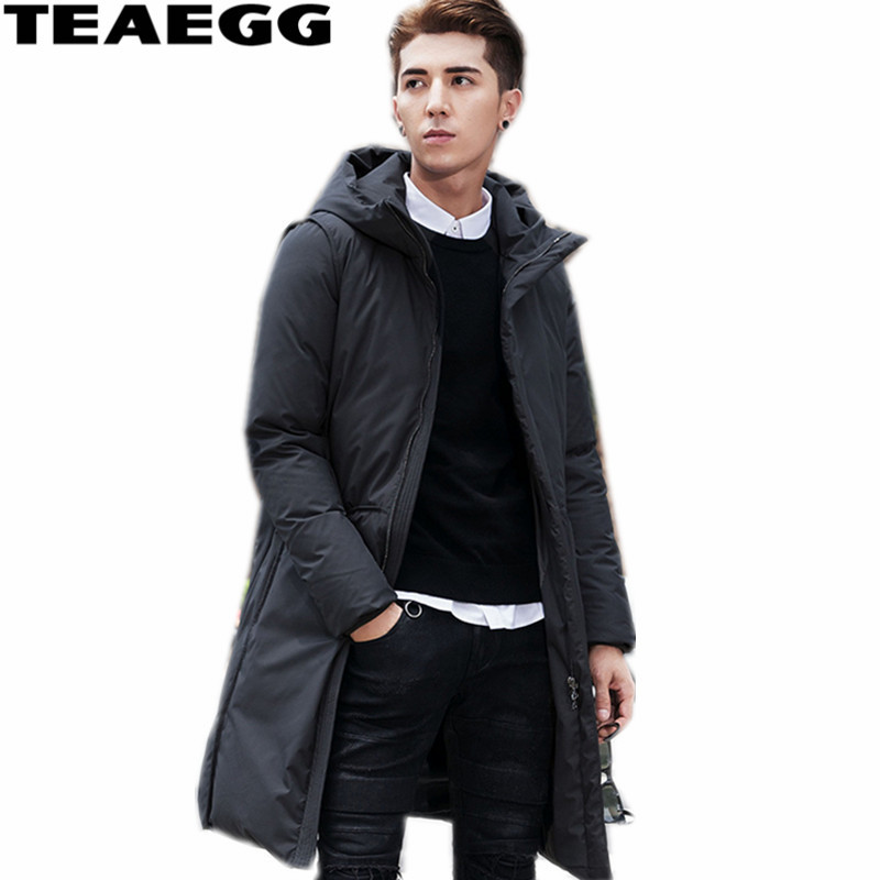 TEAEGG Mid-Long Black Warm Winter Jackets Men Clothing Hooded Thickening White Duck Down Jacket Male Coat Parka Homme AL415