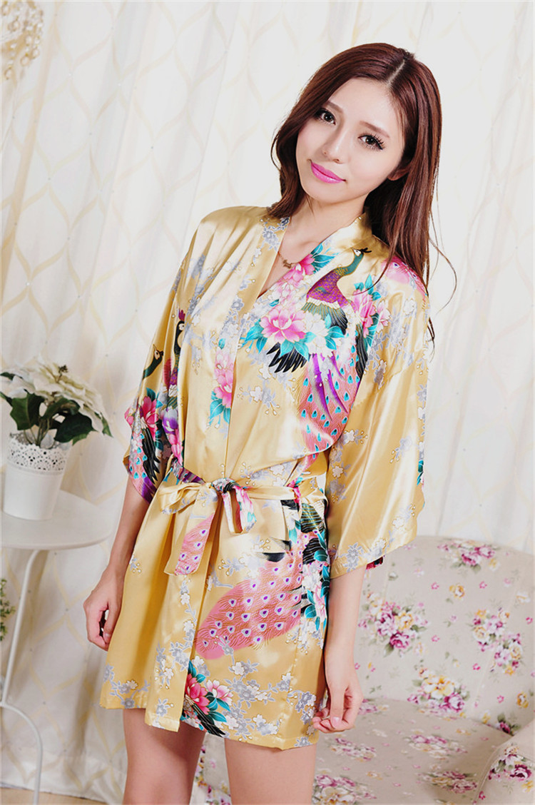 womens robe silk bathrobe Bride wedding satin nightgown women pijama nightdress bath robes kimono