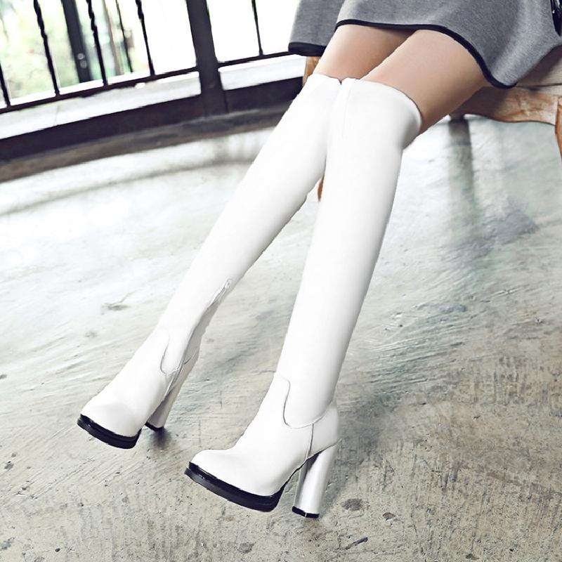 winter boots women over-the-knee boots 2017 sexy high heel boots fashion white plus size autumn shoes woman hot sale &M108-1 nemaone plus size hot spring autumn women boots sexy high heel over the knee soft pu leather black white fashion high boots