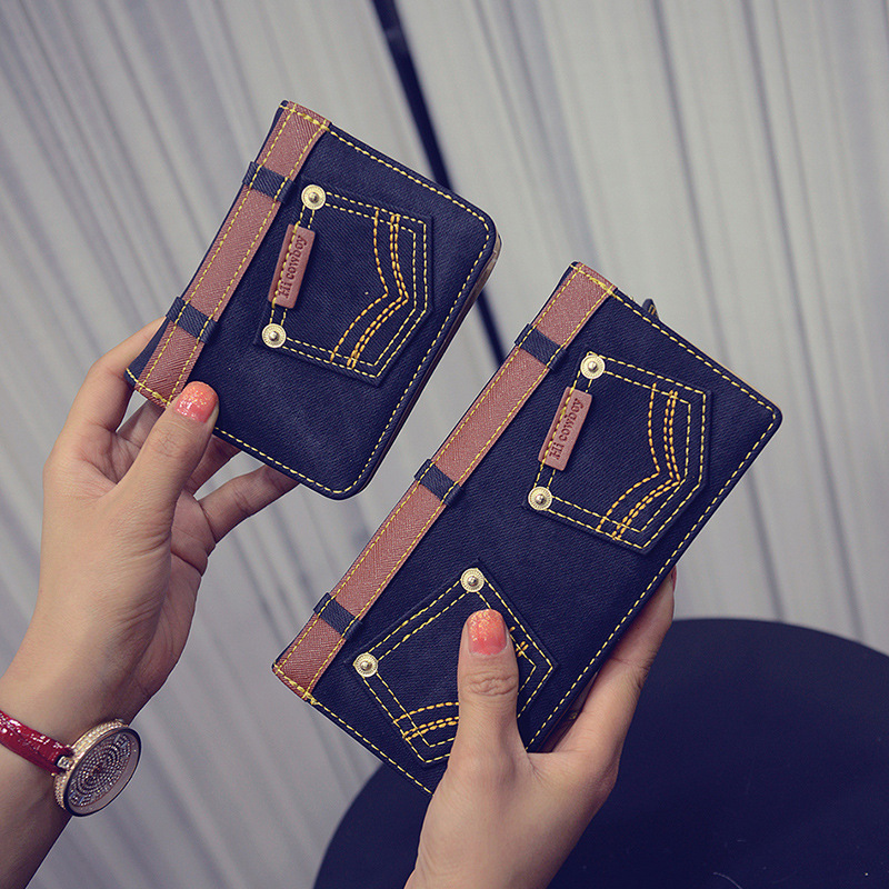 Wallet Female 2016 Fashion Zipper Handbag Denim Wallets Purses Coin Purse Credit Card Holder Girl Clutch Money Women Bag B878