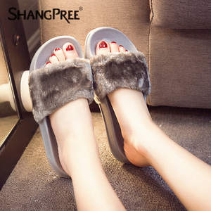 SHANGPREE Plush Slippers Women Slides Flip Flops Flat Shoes
