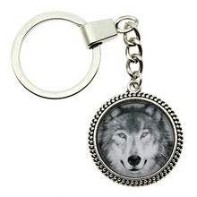 High Quality Dropshipping Gift 2 Colors Vintage 25mm Wolf Head Glass Cabochon Keychain Keyring