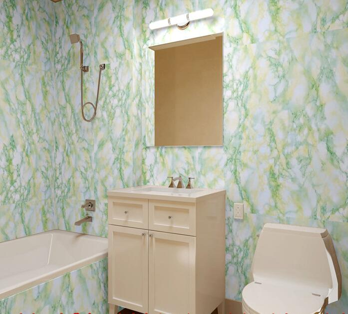 Waterproof Bathroom Walllpaper: Marble Effect Bathroom Stone Wallpaper PVC Wallpaper