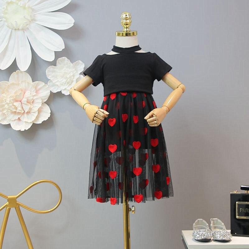 Filles d'été robe costume 2019 nouveaux vêtements pour enfants étrangers à manches courtes T-shirt avec jupe de mode filles