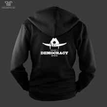 送料無料ウォーキングデッドrick民主主義男性ユニセックス360グラムジップアップパーカーオーガニックコットンフリース内側重いフード付きsweatershirt