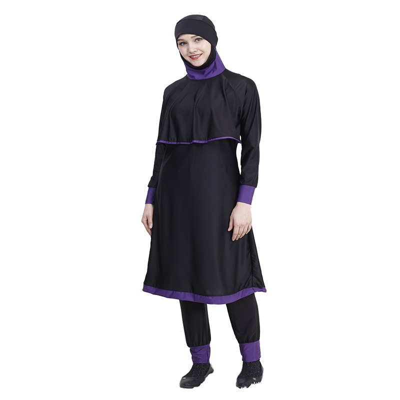 Plus Size 4xl Modest Muslim Swimwear Hajib Connection Cap Two Pieces Islamic Swim Wear Swimsuit Women Full Cover Conservative in Muslim Swimwear from Sports Entertainment