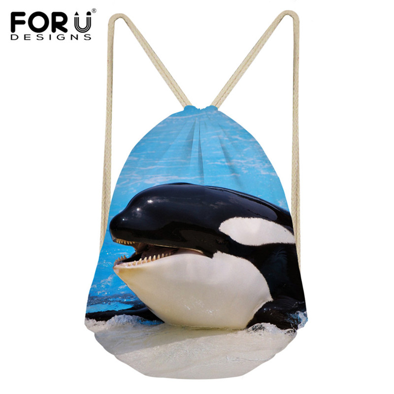 FORUDESIGNS Drawstring Bag Cute 3D Whale Print Kids Casual Backpack Sack Girls Beach Shoes Storage Bag String For Student Child