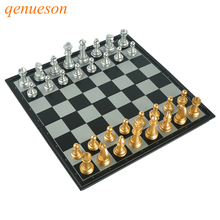 где купить High Quality Chess Game Pieces Chess Magnetic Board Folding Plate Large Gold&Silver Magnetic Reinforcement Board Games qenueson дешево