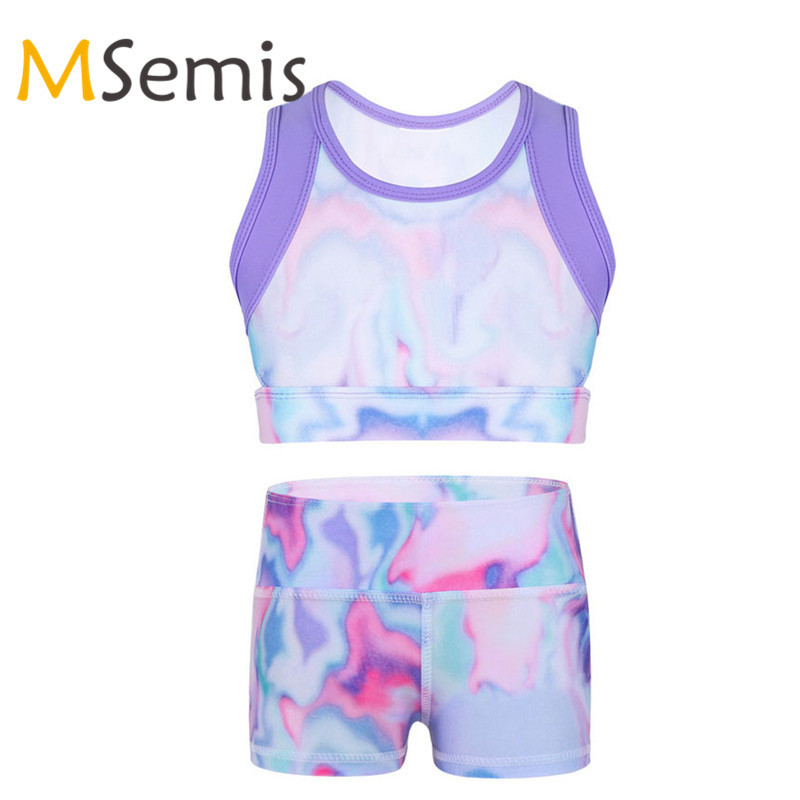 Kids Girls Colorful Ballet Crop Top Ballet Shorts Girl Gymnastic Swimsuit Tie-Dye Tanks Top For Ballet Stage Performance Workout