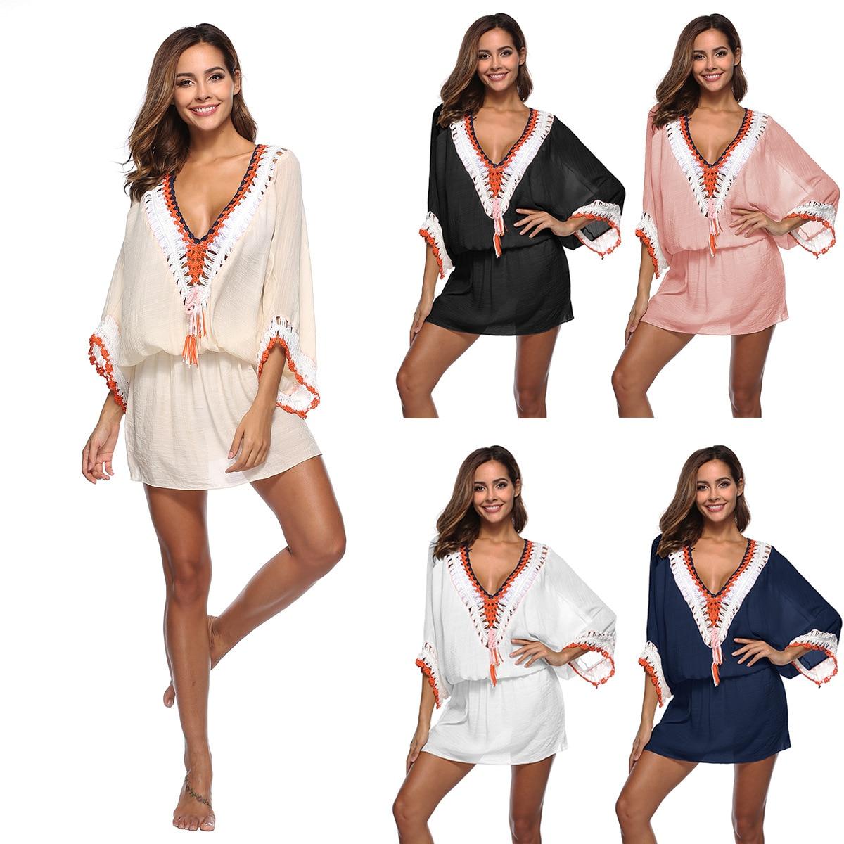 Cover Up Beach Dress Bathing Suit Women Robe De Plage Coverups For Wear Swimsuit Neck Bat Long Sleeve A1905 Patchwork Acetate