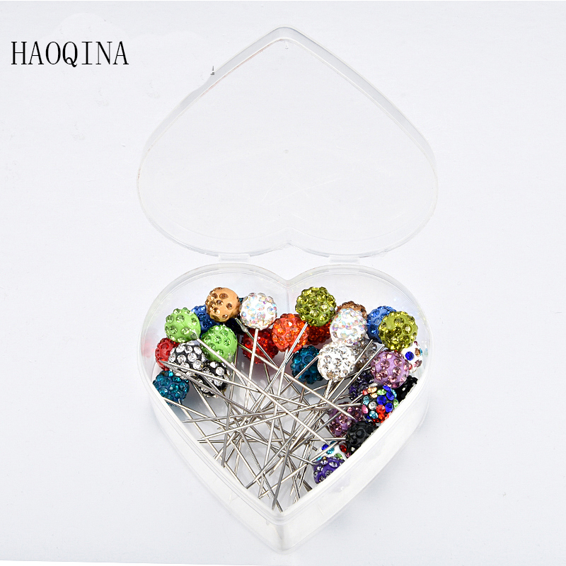 Pin For Women Safety Scarf Pin with ball New Hijab Pins Rhinestone Wholesale 30pcs Muslim Hijab pins in heart box with hat