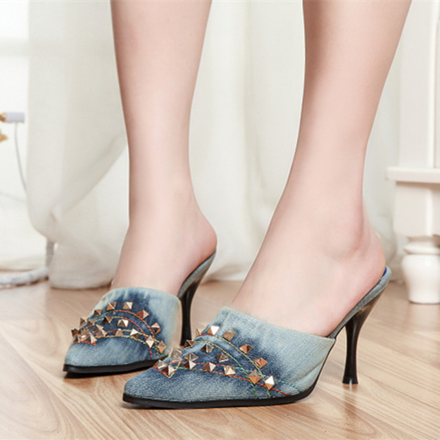 acf78f90f0e Denim decorative studded blue jeans sandals metal stiletto shoes woman  pointed toe high heels mules Slippers