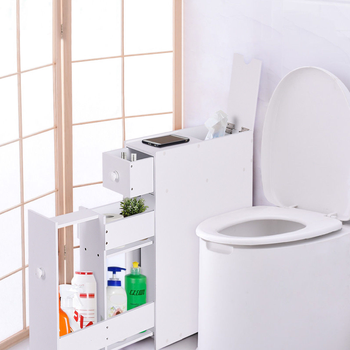 Giantex Bathroom Floor Cabinet with Drawers Stand Storage Unit ...