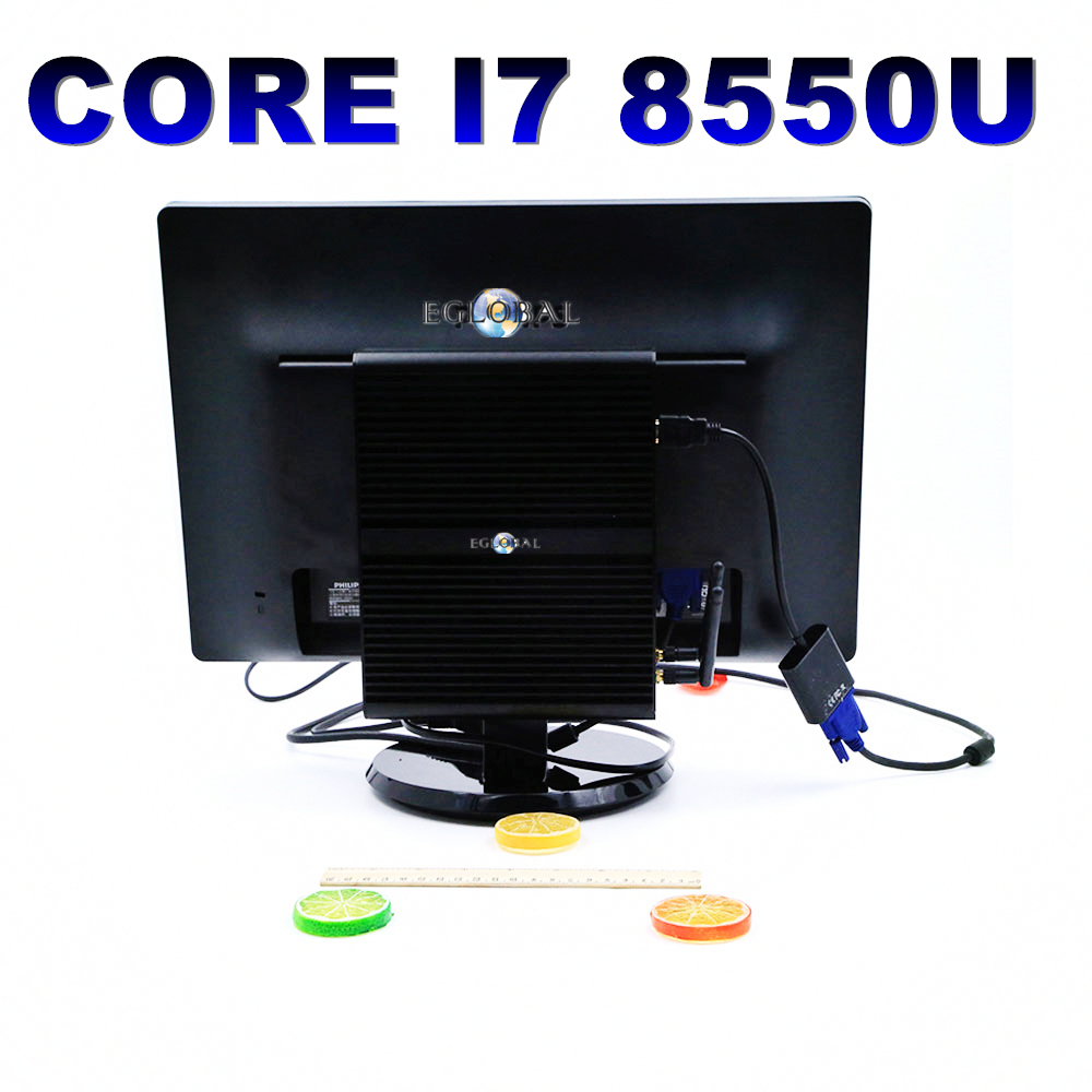 EGLOBAL Intel Core I7 8550U Quad Core Fanless Mini Computer Genuine Windows 10 Pro Linux Ubuntu Minipc No Fan WIFI HDMI Nettop