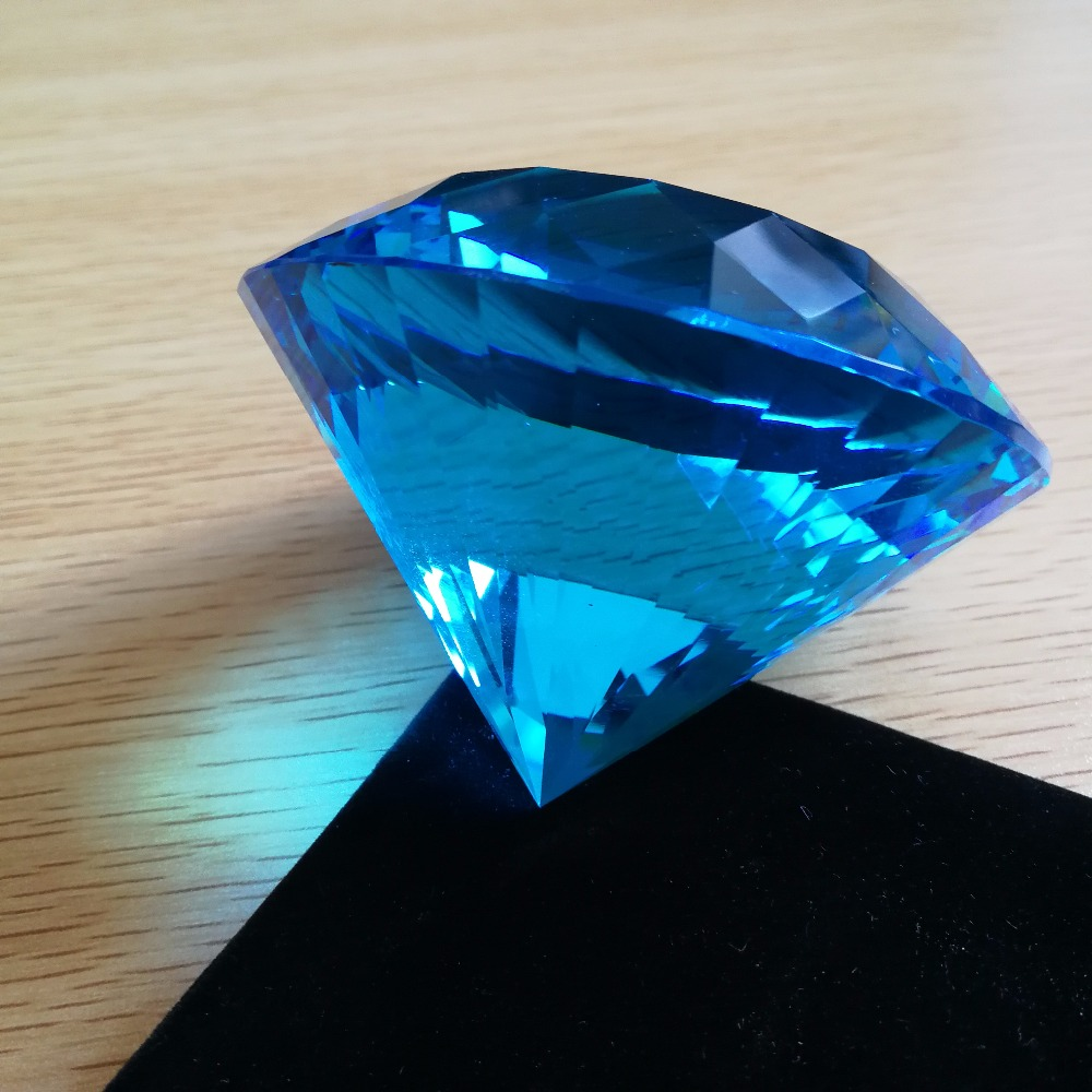 1piece 80mm Aquamarine K9 Glass Crystal Diamond paper weights Romantic Gift Wedding Decoration Event Party Supplies