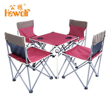 (Shipping From Russia) Hewolf Outdoor Portable Folding Table and Chair Five Sets High Stability Camping Accessories