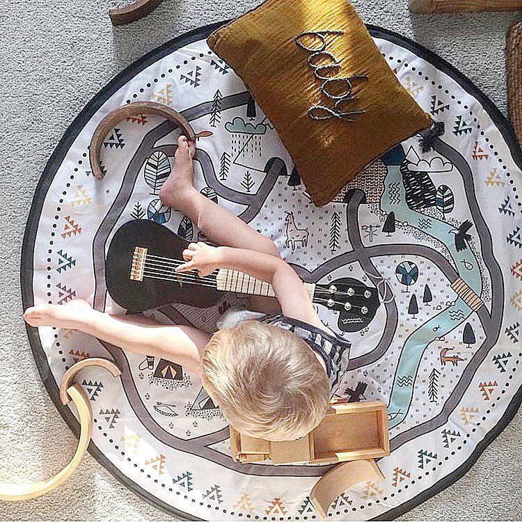 Intelligence des Enfants DIY Graffiti Jouet Bébé Chambre Décor Tapis Portable Tapis de Jeu Grand Durable Ronde enfants Ramper Tapis Tapis Couverture