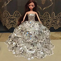 Beautiful Party Clothes Fashion Dress for Barbie Doll Mixed style Dress Three layers of silver Lace Dress Great Gift 1pc/set