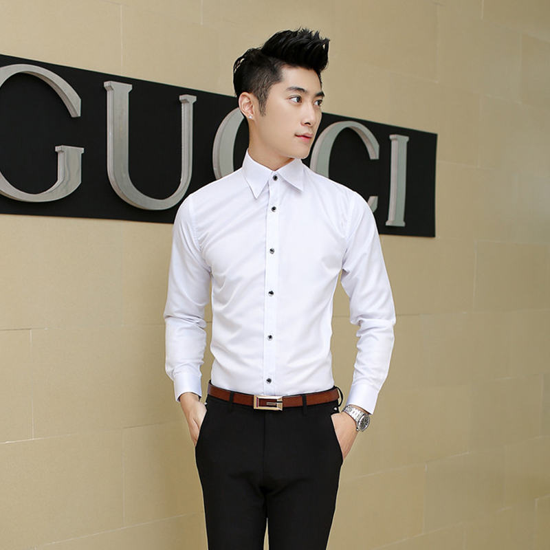 Tg6098 cheap wholesale 2016 new men long sleeve shirt no for Business casual white shirt