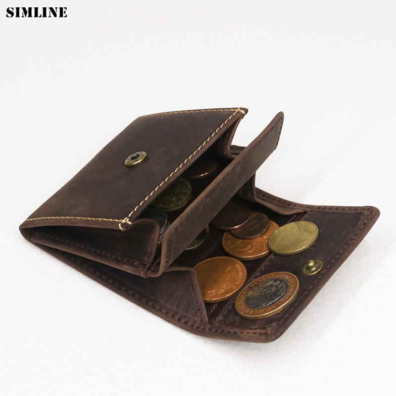 SIMLINE Genuine Leather Coin Purse Vintage Men Woman Small Mini Hasp Wallet Wallets Pocket Case Storage Bag Holder Male Female